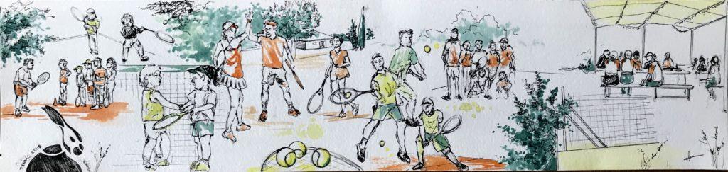 aquarelle tennis